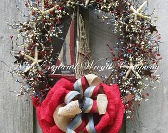 SUPER SALE Patriotic Wreath, Fourth of July Wreath, Americana Wreath, Sailboat Wreath, Nautical Wreath, Seashell Wreath, Patriotic Beach Wre