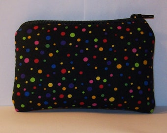 """Padded Pipe Pouch, Glass Pipe Case, Rainbow Dots Bag, Pipe Bag, Padded Pouch, Mini Pouch, Cute 420 Pouch, Coin Purse, Pipe Pouch - 4"""" MINI"""