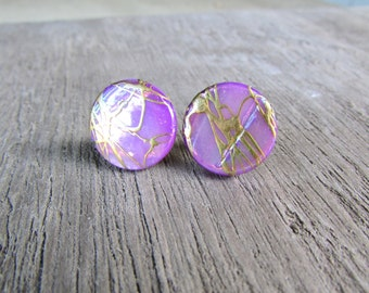 Purple Pearl Stud Earrings Mother of pearl gold swirl post earrings silver 15 mm shell