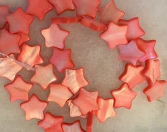 """Coral Pink Color Mother of Pearl Star Beads 5/8"""" 34 Beads"""