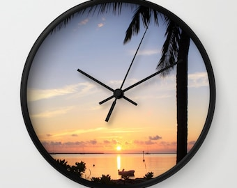 Beach Clock, Sunset, Tropical Wall Art, Ocean, Beach, Beach Cottage Decor