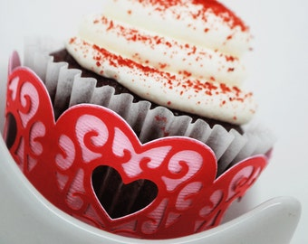 Valentine's Day Lace Heart Cupcake Wrappers In your choice of color Qty 12 By Your Little Cupcake