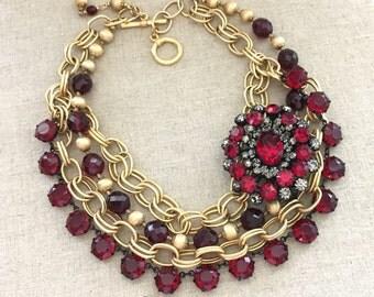 Repurposed Rhinestone Statement Necklace - Red Rhinestone Necklace -  Rhinestone Statement Bib Necklace - OOAK Jewelry