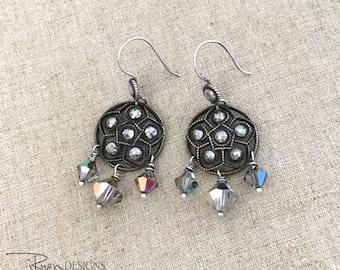 Vintage Cut Steel Button Earrings - Repurposed Antique Button Earrings - Button Dangle Earrings - Unique OOAK Jewelry