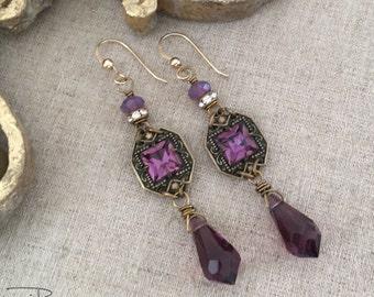Purple Rhinestone Crystal Earrings - Repurposed Rhinestone Dangle Earrings - Purple Crystal Earrings - Unique OOAK Earrings Gift for Her