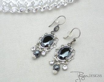 Vintage Repurposed Rhinestone Dangle Earrings, One of a Kind OOAK Handmade Earrings Clear Rhinestones Hematite Gray and Silver Earrings