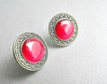 Red Egyptian Stud Earrings