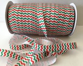 "Christmas elastic FOE 5/8"" red & green chevron Fold Over Elastic Baby Headband Hair Ties Satin Soft Elastic FOE 3, 5 or 10 yards wholesale"