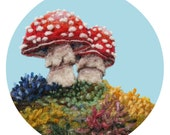 Woodland Toadstool Duo Under Blue Skies - High Quality Giclee Print - 5x7