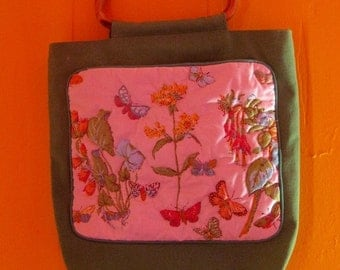 on sale Vintage Bag, Floral Bag, Butterfly Bag, Wooden Handles, 70s Bag, Bag with Pockets, Boho Style, Boho Bag, 1970s Accessories, Puffy Ba