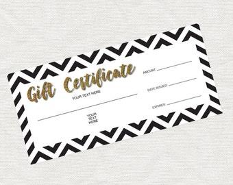 printable gift certificate gold glitter black chevron christmas business marketing promotion printable editable file last minute gift idea