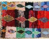 FREE SHIPPING WORLDWIDE L24003vintage boucherouite rug, moroccan rugs , rag rug, berber tribal art, morocco carpets, wall art