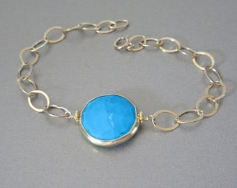 Turquoise Coin Gold Bracelet - Gold Bracelet - Gemstone Bracelet