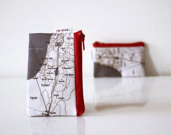 ISRAEL map coin purse with red zipper - I love Israel Map Wallet souvenir from Israe the Holy Land