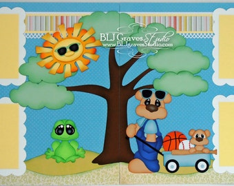 2 Premade Scrapbook Pages Summer Boy Bear Frog Wagon 12x12 Layout Paper Piecing Handmade 80