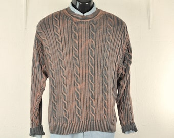 Boho Cableknit Sweater Mens Womens Unisex Jumper Distressed Soft Gray Size Large Pullover Zip Up Grunge Unisex Style