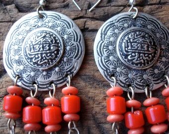 Moroccan  red and blue bead round tarnished hand engraved earrings with silver hooks