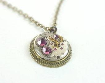 Steampunk Necklace Clockwork And Royal Purple Crystals