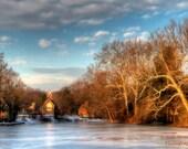 Winter Morning on Lake Afton, Landscape Photography, Bucks County, Pennsylvania, Fine Art Photograph, Blue Sky, Church, Old Library, Trees