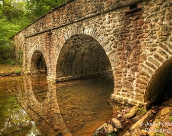 Historic Stone Bridge and Reflection Landscape Photograph Bowman's Hill Wildflower Preserve Bucks County Pennsylvania Earth Tones Art Print