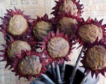 Handmade Primitive Red Sunflower Pokes, Primitive Decor, Farmhouse Fall Decor   Set of  3