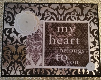 Handcrafted Handmade My Heart Belongs to You Card, Love Card, Anniversary Card, Wedding Card, Valentine's Day Card, Vday, Greeting Card