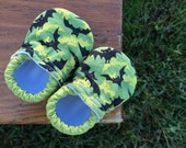 Baby Shoes for Boys - Black and Light Green Bats on Darker Green - Custom Sizes 0-24 months 2T-4T