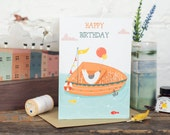 Happy Birthday Card, Nautical, Fishing, Bird, Balloons - Free Postage