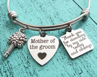 wedding gift for mom from son, mother of the groom gift,  Thank you for standing by my side bracelet, wedding party jewelry, groom mom gift