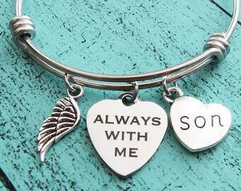 son memorial gift, loss of son bracelet, sympathy gift son, always with me bracelet, loss of child in loving memory son, remembrance jewelry