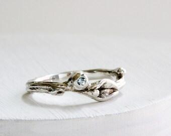 Leaf Twig Ring with Aquamirine, Silver Leaf Ring, Branch ring, Aquamarine ring