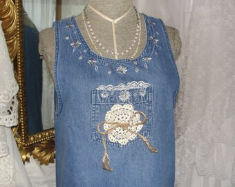 Womens jean jumper with lace, doily, embroidery, upcycled, doily lace