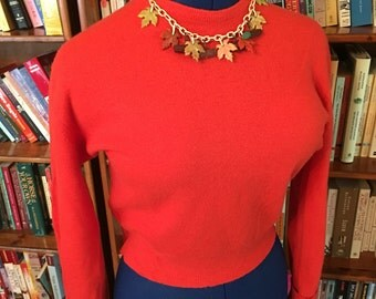 BLAZINGLY BEAUTY-- Stunning 1950s Ladies Sweater in Vibrant Melon