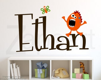 Friendly Monster with Personalized Name Wall Decal