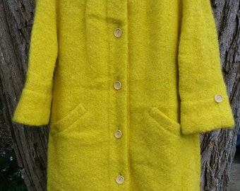 Gorgeous Chas. A Stevens & Co. Dandelion Yellow 50s 60s Mod Dress Coat medium/Large