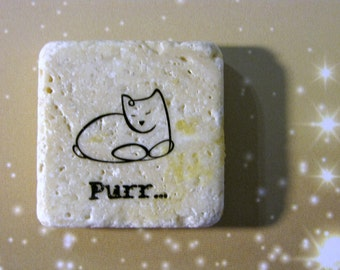 Purr..sleeping cat..sayings..funny..phrase...natural stone magnet 2x2..cute gift favors..brown