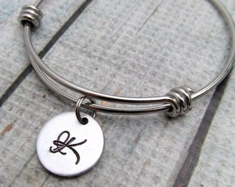 Personalized Jewely - Personalized Bangle Bracelet - Bridesmaid Jewelry - Hand Stamped Jewelry - Expandable Bracelet - Initial Bracelet