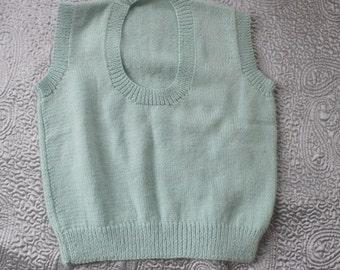Pale mint acrylic tank handknit top sleeveless sweater