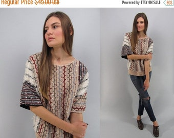 On Sale - Vintage Ethnic Woven Top, Nubby Sweater Top, Tribal Boho Top, Vintage 80s Sweater Top, Worldly Travels Top Δ fits sizes: sm / md