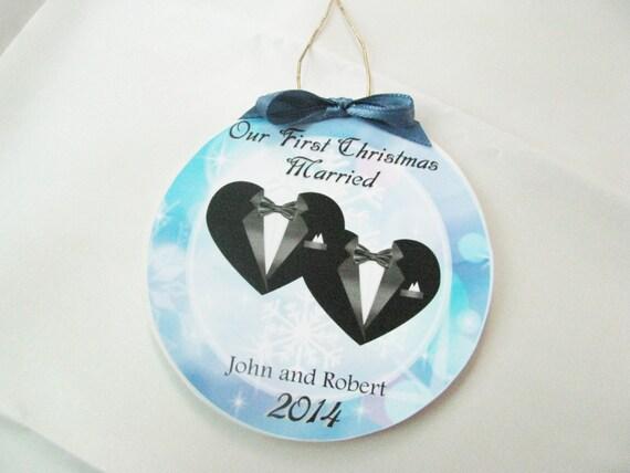 Christmas Ornament Wedding Gift: Items Similar To Gay Wedding Gift First Christmas Gay