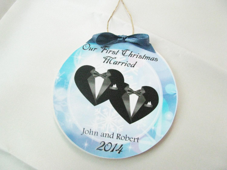 Wedding Gift Ornaments: Gay Wedding Gift First Christmas Gay Marriage Ornament