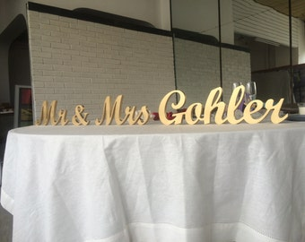 Custom Name Sign top table sign for wedding Mr and Mrs Family sign, Mr AND Mrs LAST name sign, Mr & Mrs NAME sign, Personalized sign wedding