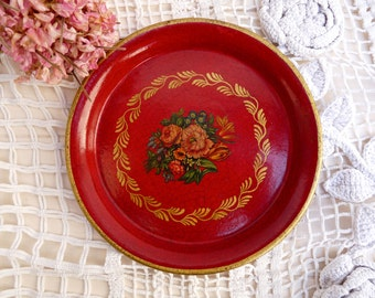 Antique French Toleware - Napoleon III Style - Shabby Chic Tray - Ring Case - Hand Painted Tray - Flower Nice Gift