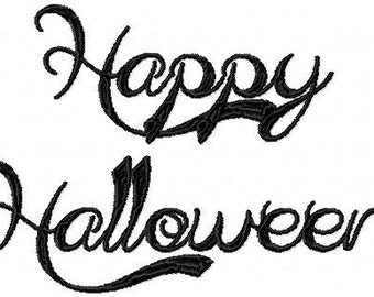 Happy Halloween machine embroidery design - cute font, tea towel machine design, holiday,halloween, monogram