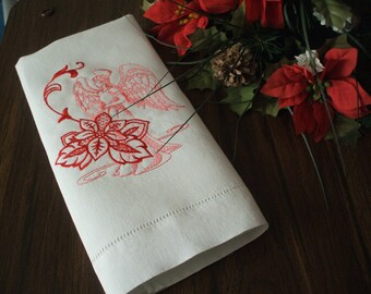 Poinsettia Angel: Embroidered Linen Towel