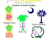 Pineapple Monogram Decal, Palm Tree Monogram Decal, Cotton Plant Monogram, Palmetto and Moon Monogram, South Carolina Flag Monogram