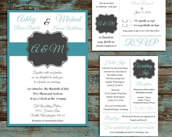 Monogram in Black Frame 100 Wedding Personalized and Printed Invitations, RSVP, Reception Hotel Inserts w/ FREE Envelope seals
