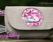 Morning Glory Pouch in Grey linen blend featuring Tula Pink Fox Nap from Chipper line in Purple