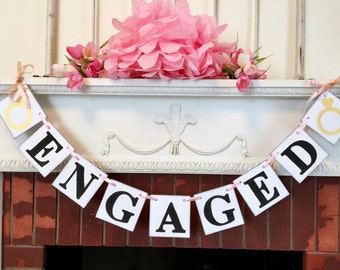 Engaged Banner / Engagement Photo Prop /  Bridal Shower Decorations / couples Shower Banner / You Pick the Colors