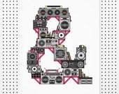 "Boombox Ampersand Typography Print. Ghettoblaster music poster home decor - art gift for music teacher, music and hiphop lover. ""R&LPH"""